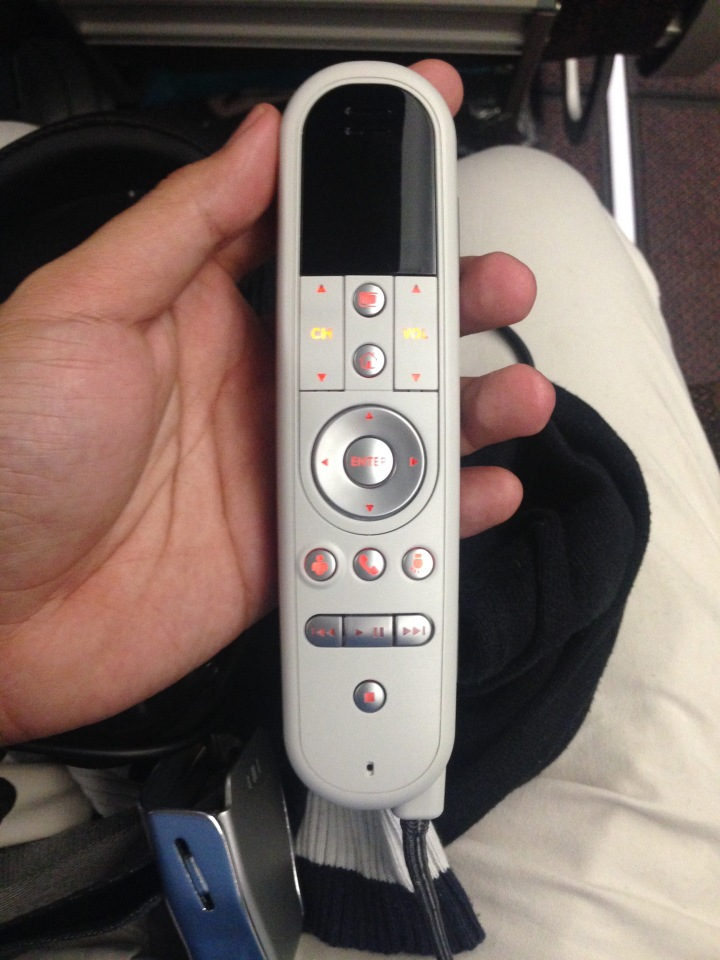 The IFE remote control. Love that it's modern and simple.