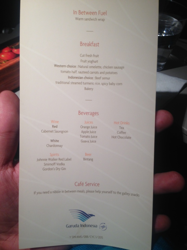 Garuda Indonesia GA 88 Breakfast Menu