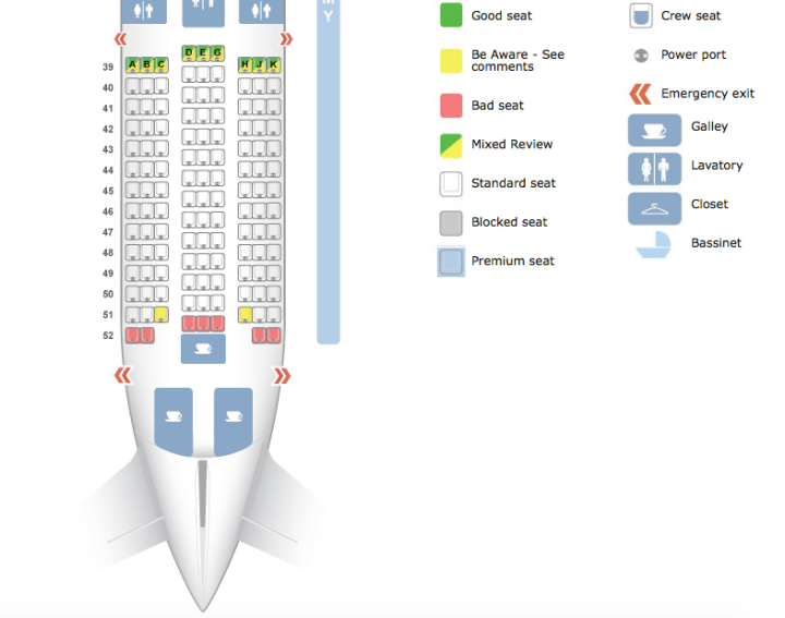 Seat configuration, according to SeatGuru. Incorrect.
